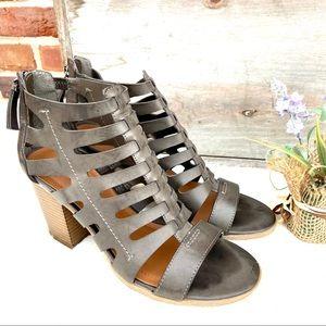 Indigo Rd. Brown Caged Zippered Heeled Sandals